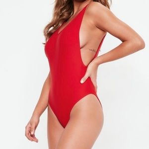 Missguided Red Low Back High Cut One Piece Swim